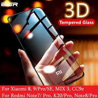 Protetor de tela esr para xiao mi 8 9 pro se cc9e 3d capa completa proteger anti azul-ray vidro temperado para mi nota vermelha 7 8 k20 pro