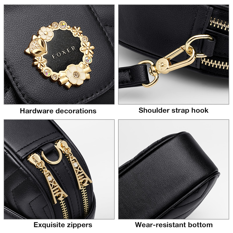 Foxer Hoty Quality Women Leather Purse Black