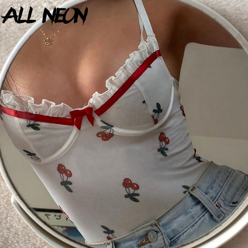 ALLNeon Sweet Summer Cherry Printing Ruffle Bodysuits Vintage Spaghetti Strap Backless Sexy Body Chic E-girl Outfit Clubwear 90s