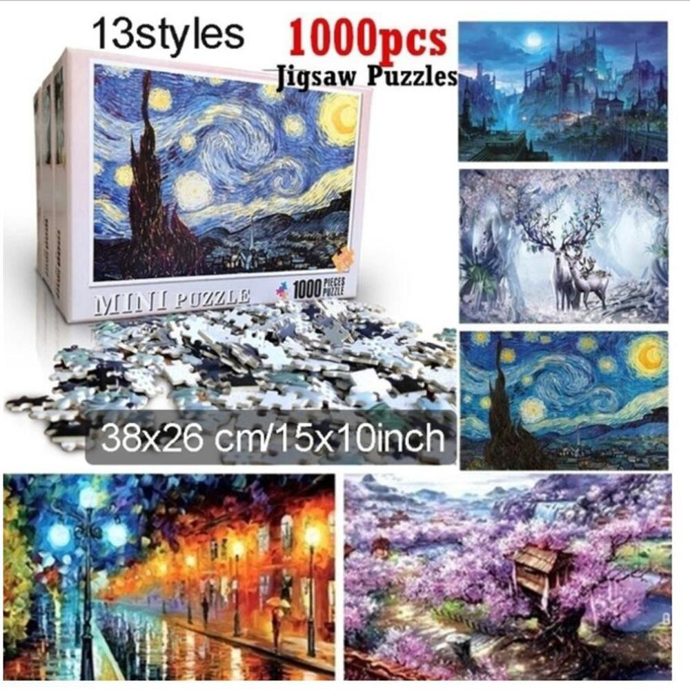 Thick Paper 1000Pcs Jigsaw Puzzles Luminous World Adults Children Toys Home Decoration Assembling Collectible Puzzle Toys