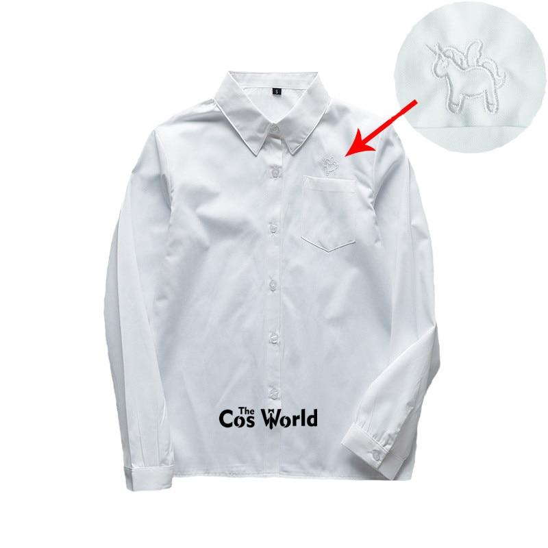 XS-5XL Men's Women's Spring Autumn V-Neck Alicorn Long Sleeve White Shirt Tops Blouses For JK School Uniform Student Clothes