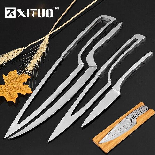 XITUO mutfak bıçağı 4 adet set çok pişirme aracı paslanmaz çelik dayanıklı şef bıçağı yemek ve Bar benzersiz özel tasarım bıçak seti