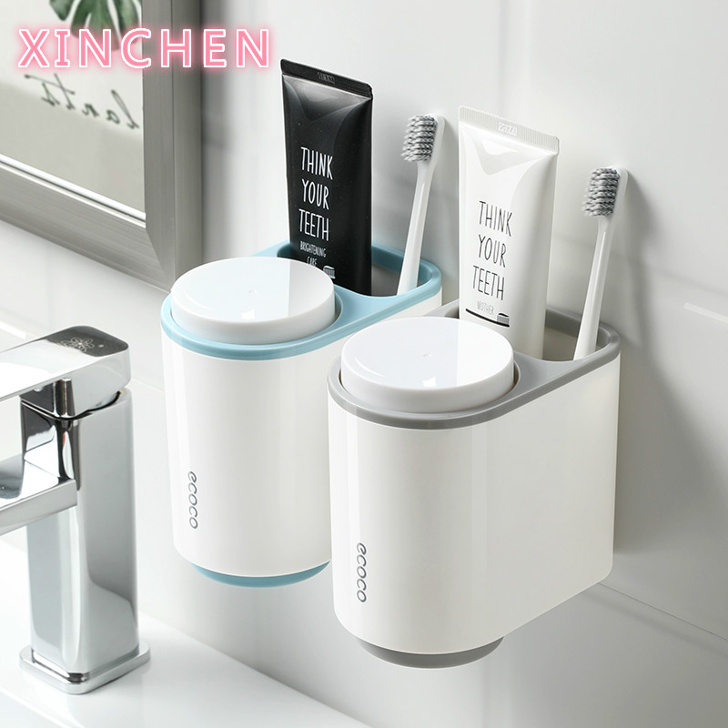 Toothbrush Toothpaste Holders With 2 Cup Bathroom Accessories Set Plastic Storage For Kid Adult Electric Toothbrush Holder Wall image