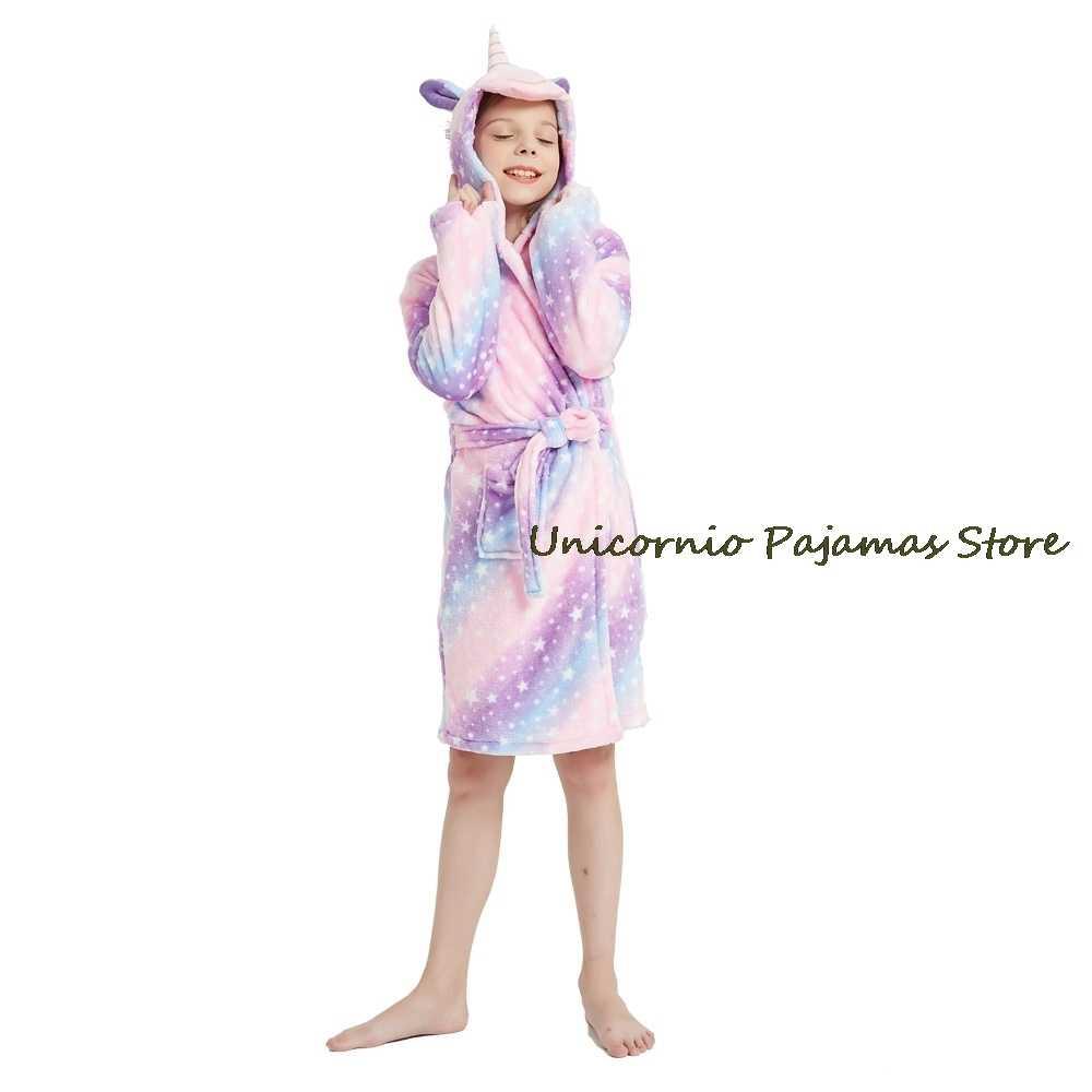 Kinder-Badem/äntel mit Kapuze Flanell-Tier-Badet/ücher Kikier Cartoon-Einhorn-Kinder-Pyjama