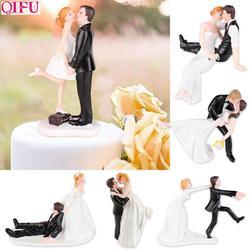 QIFU ślub pan młody panna młoda ciasto lalki żywicy rocznica ciasto Topper dekoracje ślubne ozdoby do dekorowania tortu śmieszne prezenty w Ozdoby do dekorowania tortu od Dom i ogród na