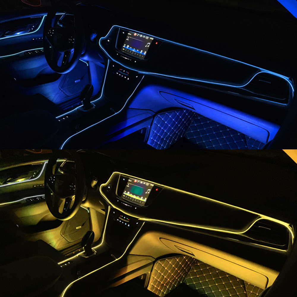 Подсветка для салона автомобиля 1 м/2 м/3 м/5 м полосы Авто Светодиодная лента гирлянда EL провод веревка украшение автомобиля неоновый светодиодный светильник Гибкая канатная трубка