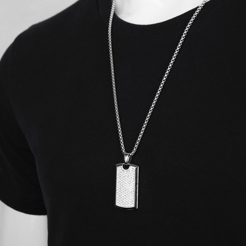 Купить с кэшбэком New Party Card Square Necklace for Men Gold Silver Color Pendent with Chain Necklace Fashion Jewelry Gifts