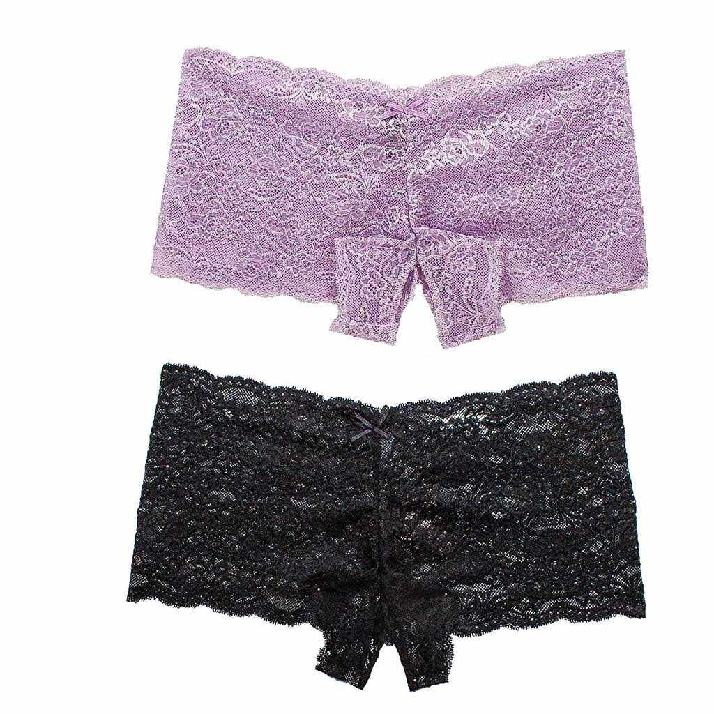 2 Pc Sexy Vrouwen Lace Lingerie Plus Size Ondergoed Dames Open Kruis Strik Underpants Majtki Damskie String Sexy Femme Erotique