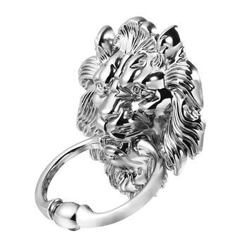 1 pc Front Door Handle Antique Silver Tone Lion Head Zinc Alloy Pull Ring Door Knocker Door Handle for Drawer Cabinet 2
