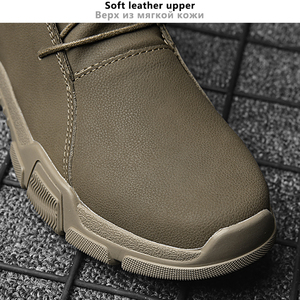 Image 2 - Botas Vintage estilo británico para hombre Botas de otoño para hombre al aire libre de cuero genuino a prueba de agua botas de tobillo de invierno para senderismo