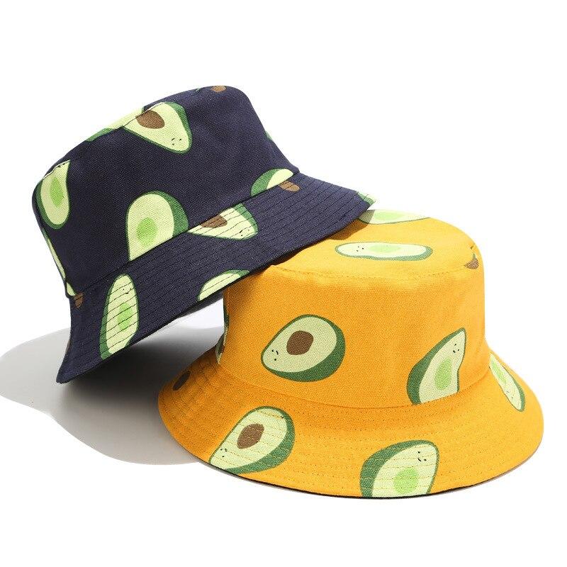 New Avocado Double-sided Fisherman Hat Men And Women Travel Canvas Basin Cap Cross-border E-commerce Fruit Pattern Bucket Hat