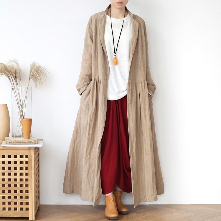 2020 New Japan Style Trench Coat Women Cotton & Li