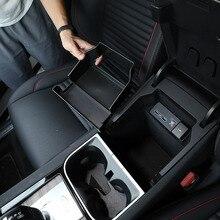 랜드 로버 디스커버리 스포츠 2019 20 ABS 블랙 센터 컨트롤 스토리지 박스 전화 장갑 팔걸이 상자 자동차 용품에 대 한 자동차 액세서리