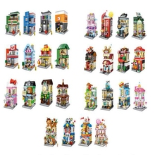 Creative DIY Mini Commercial Street View Small Particles Set Building Blocks Childrens Educational Toys Gifts