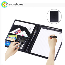 Office Supplies Business Style Leather Document Folder with 30-pages A4 Note Pad & Calculator