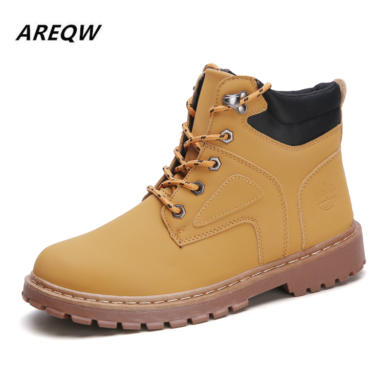 2019 Spring And Autumn Winter Fashion Sports Shoes With High-top Solid Color Martin Boots Solid Color Non-slip Men's Boots