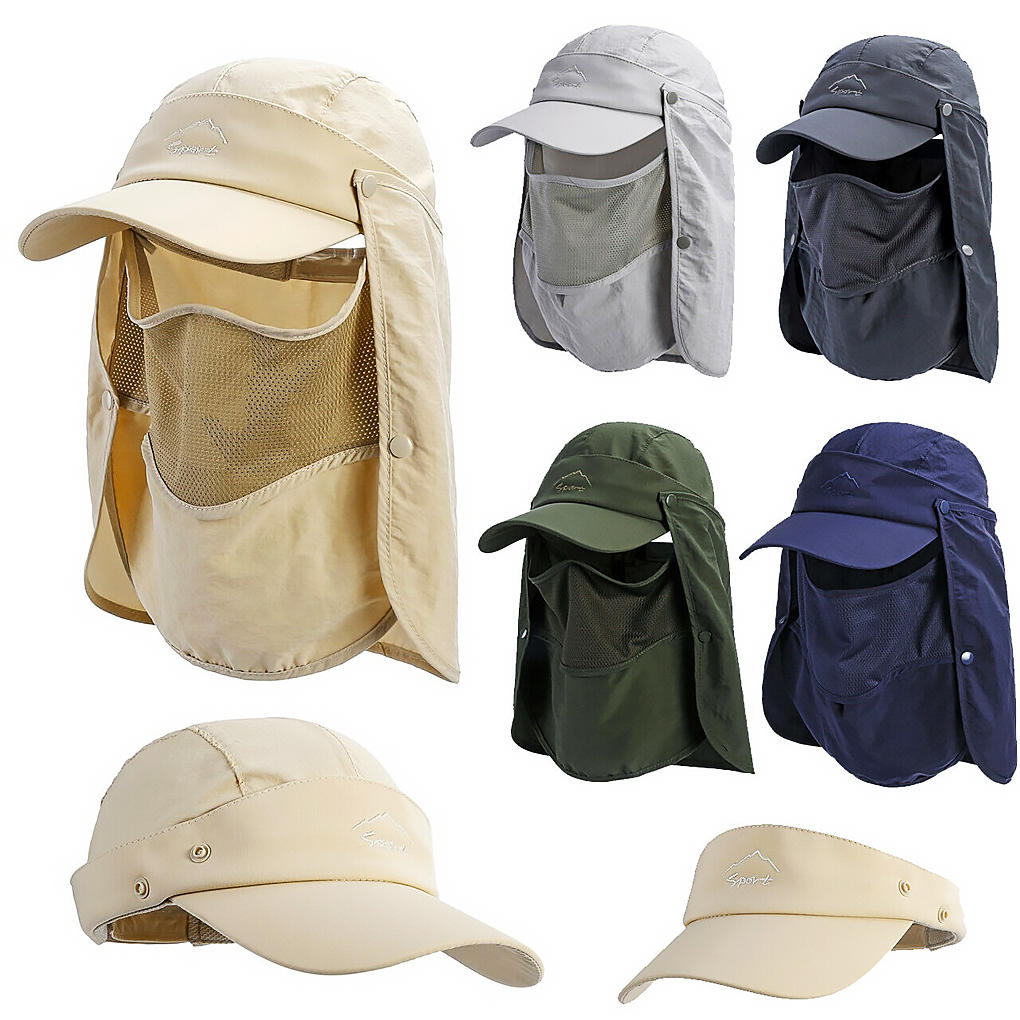 Quick-dry Unisex Visor Hats Fishing Sun Cap UV Protection Face Neck Cover Outdoor Sport Hiking Fishing Hats
