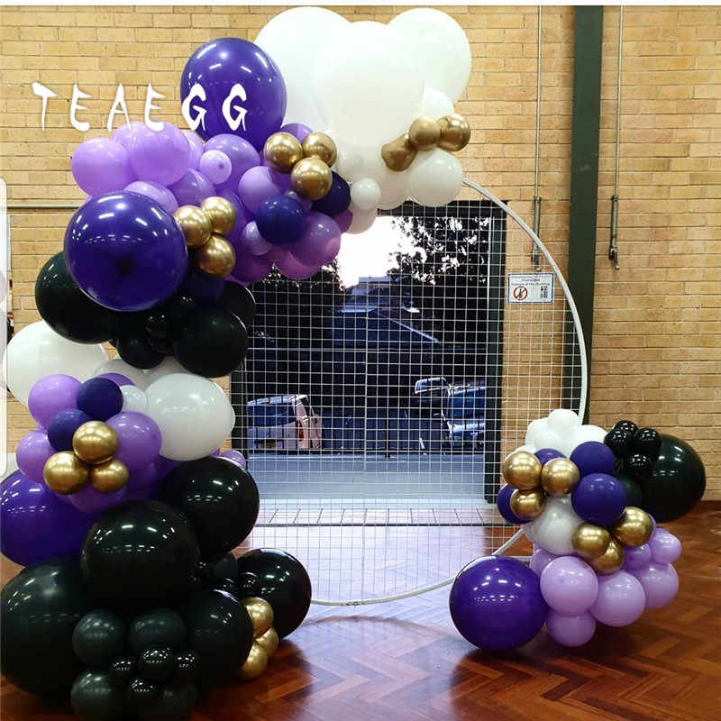 127pcs/set Dark Purple White Black Mixed Balloon Garland Arch Kit For Adult 30th Birthday Anniversary Decorations Baby Shower