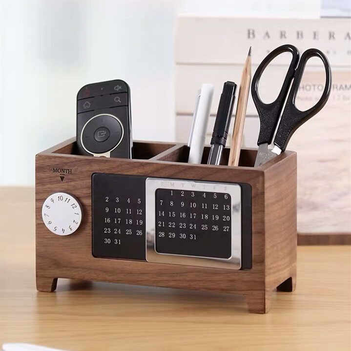 Sharkbang Creative Multifunctional Walnut Wooden Pen Holder Desk Storage Organizer With Perpetual Calendar Office Stationery Pen Holders Aliexpress