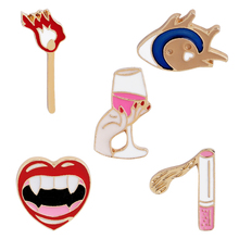 Pins and brooches Lips Wine Cigarette Matches Heart Brooches Badges collection Women acc