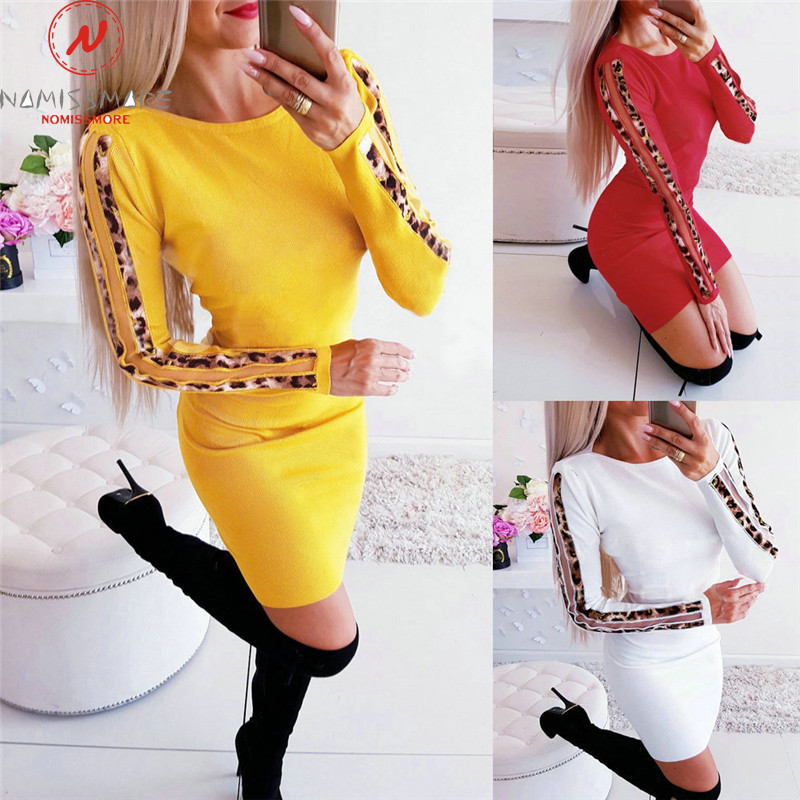 Women Autumn Bodycon Dress For Streetwear Patchwork Design O-Neck Long Sleeve Leopard Print Elegant Lady Slim Mini Dress