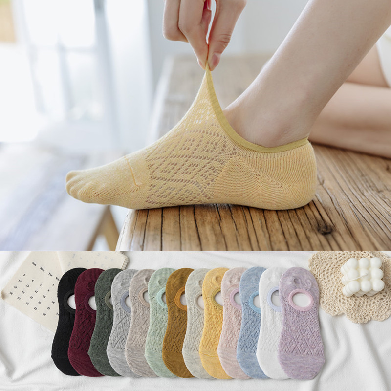 Fashion 2020 Summer New Ladies Hollow Solid Color Lace Shallow Mouth Socks