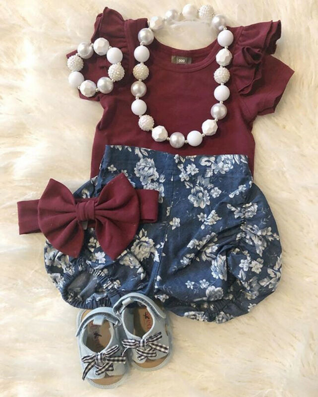 Toddler Kids Baby Girl Infant Clothes Romper Tops Flower Print Pants Outfits