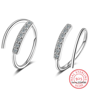 100% 925 brincos de prata esterlina pequena orelha ossos orelha fivela anel 10mm com cz firmemente embalado mini duplo anel da293