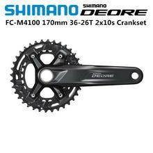 Новый 2020 SHIMANO DEORE FC M4100 Crankset 170 мм 36T 26T 2x10 скоростной MTB велосипед широкий диапазон 170 мм коленчатый рычаг 36T 26T цепное кольцо