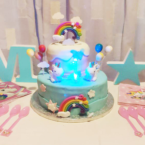 Image 2 - Rainbow Cake Toppers Birthday Party Decoration Kids Cupcake Toppers Cloud Egg Balloon Cake Flags Party Cake Decoration Unicorn