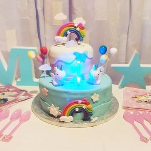 Image 2 - קשת עוגת Toppers מסיבת יום הולדת קישוט ילדים Cupcake Toppers ענן ביצת בלון עוגת דגלי מסיבת עוגת קישוט חד קרן