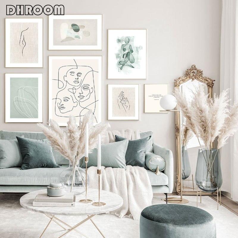 Soyut çizgi tuval gri yeşil duvar sanatı Minimalist baskı boyama Nordic Poster soyut resim Modern oturma odası dekor