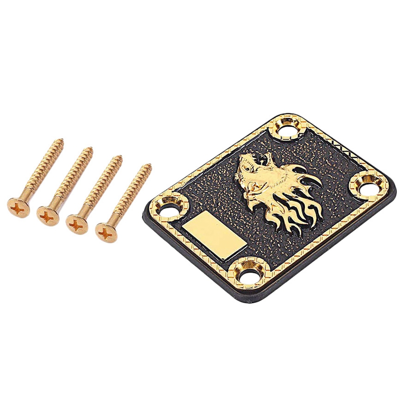 Electric Guitar Neck Plate & 4 Screws For Strat/Tele Style Electric Guitar - Gold & Black