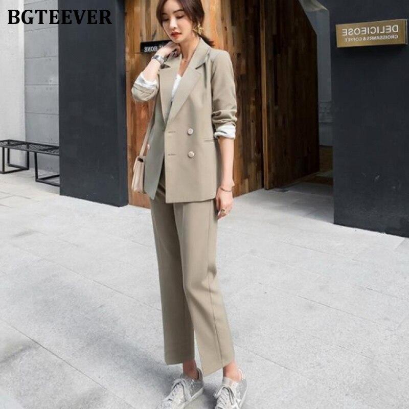BGTEEVER 2 Pieces Set Double Breasted Women Blazer & High Waist Pant Suit Elegant Female Workwear Sets Female Blazer Suit 2020