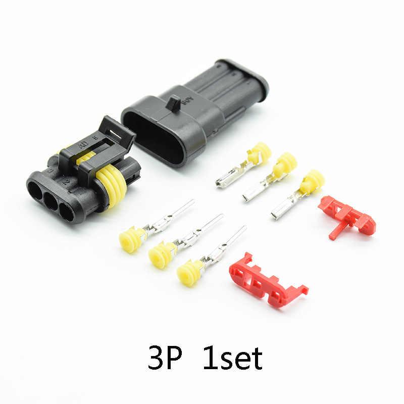 2/5 Set 1/2/3/4/5/6 Pin 17-15 AWG cara AMP Super Seal Tahan Air Konektor Kawat Listrik untuk Mobil Kit Konektor 2 Pin
