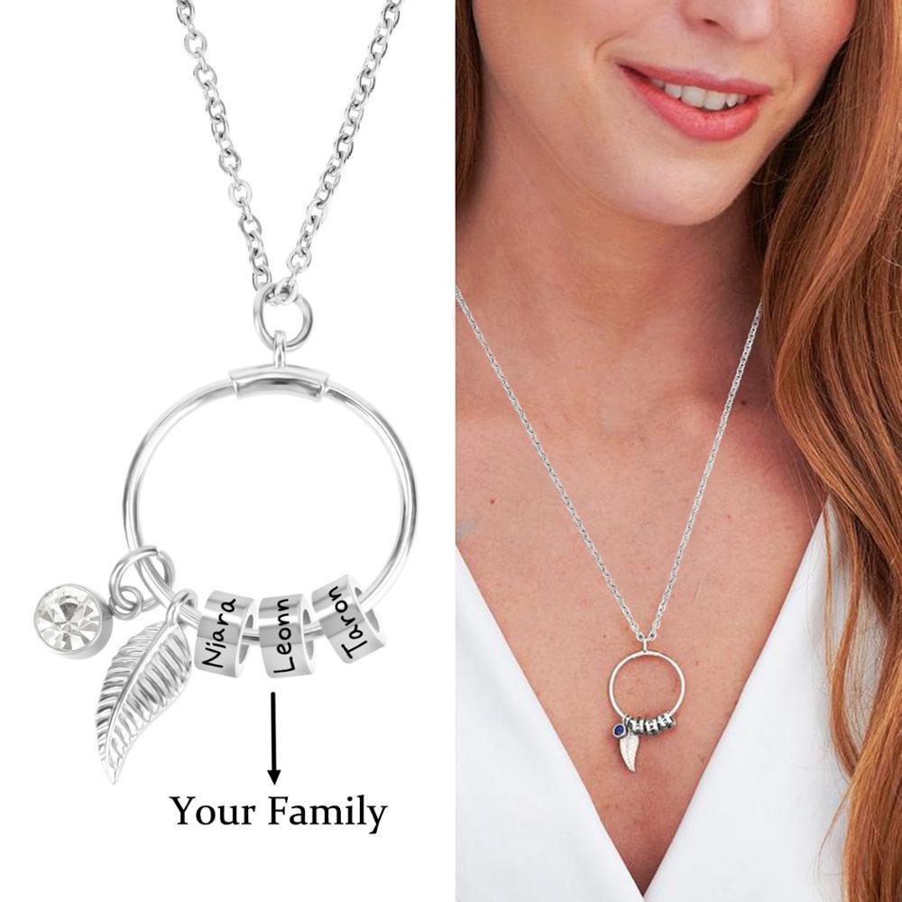 Индивидуальное ожерелье с подвеской из бусин из нержавеющей стали в богемном стиле, ожерелье с камнем на день рождения 12 месяцев, индивидуа...