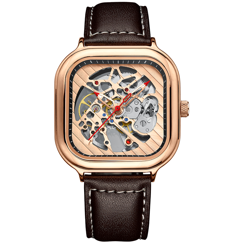 2020 new men's automatic watch top brand luxury silicone strap hollow Swiss square top ten watches 22