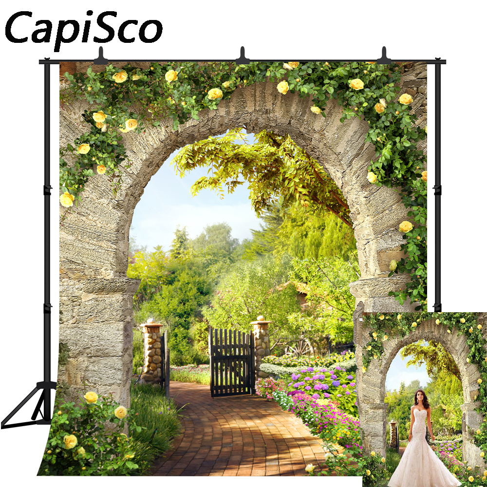 Capisco photography background Spring flower garden Stone arch trail backdrop photo studio photocall photophone prop
