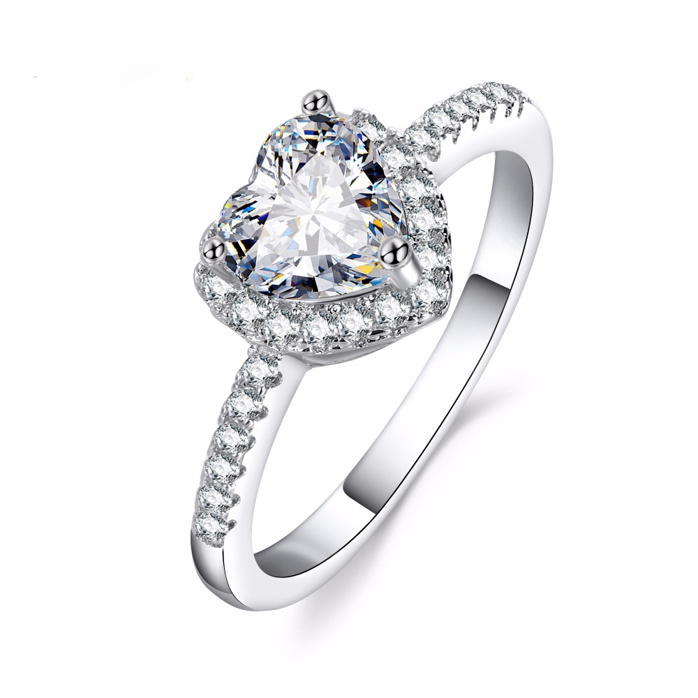 KISS WIFE Classic Engagement Ring 6 Claws Design AAA White Cubic Zircon Female Women Wedding Band CZ Rings Jewelry 5