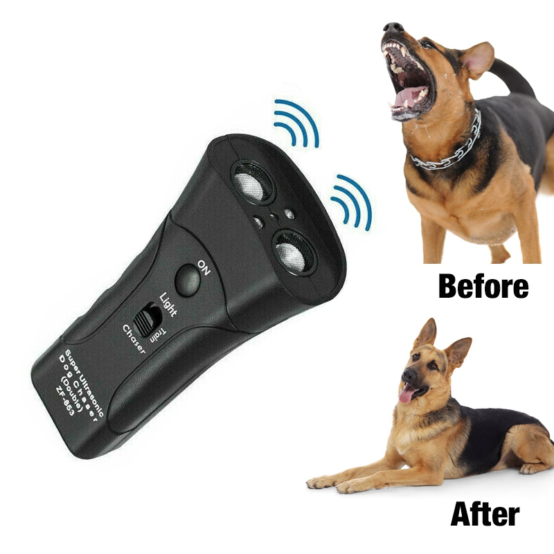 Pet Anti Dog Barking Pet Trainer LED Linght Ultrasonic Double Head Double Horn Laser Dog Drive