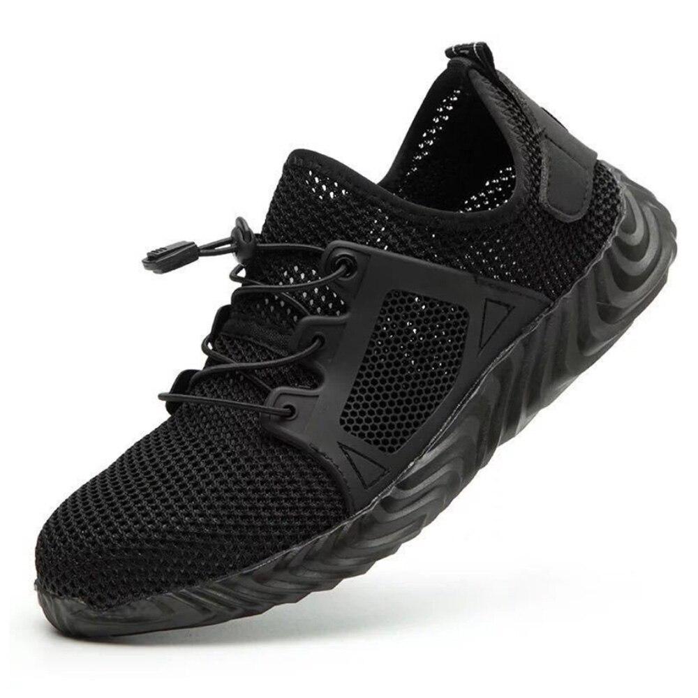 Рабочая безопасная обувь для женщин и мужчин; подходит для использования на открытом воздухе со стальным носком; противоскользящая защитная обувь с защитой от проколов - Цвет: Black 2