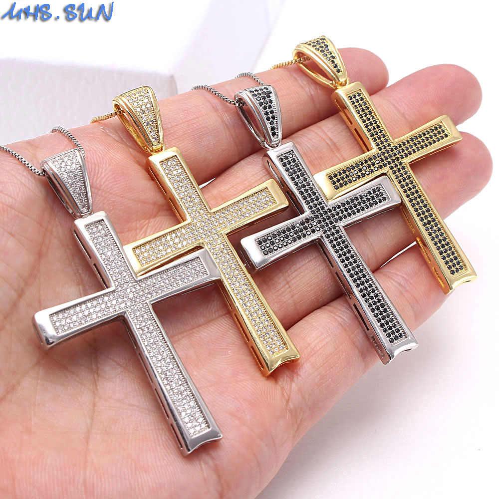 Mhs. sun zircon cruz pingente para mulher religião colar de ouro/prata cor corrente colar com aaa cz masculino hip hop jóias presente