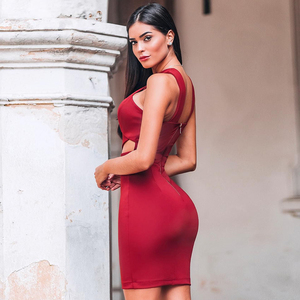 Image 2 - Ocstrade New in Runway Summer 2020 Fashion Cut Out Hot Sexy Bandage Dress Club Party Red Bandage Dress Rayon Women Bodycon Dress