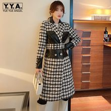 Klassische Frauen Dünne Plaid Gespleißt Leder Woolen Mantel Büro Dame Einreiher Drehen-unten Kragen Taschen Winter Langen Mantel
