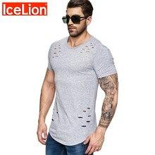 2019 nova primavera curto t camisa masculina moda buraco design de fitness camiseta verão manga curta sólido fino ajuste hip hop tshirt