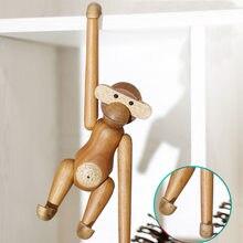 Decoração da casa pendurado de madeira macaco bonecas estatueta nordic escultura em madeira artesanato animal presentes decoração acessórios para casa sala estar