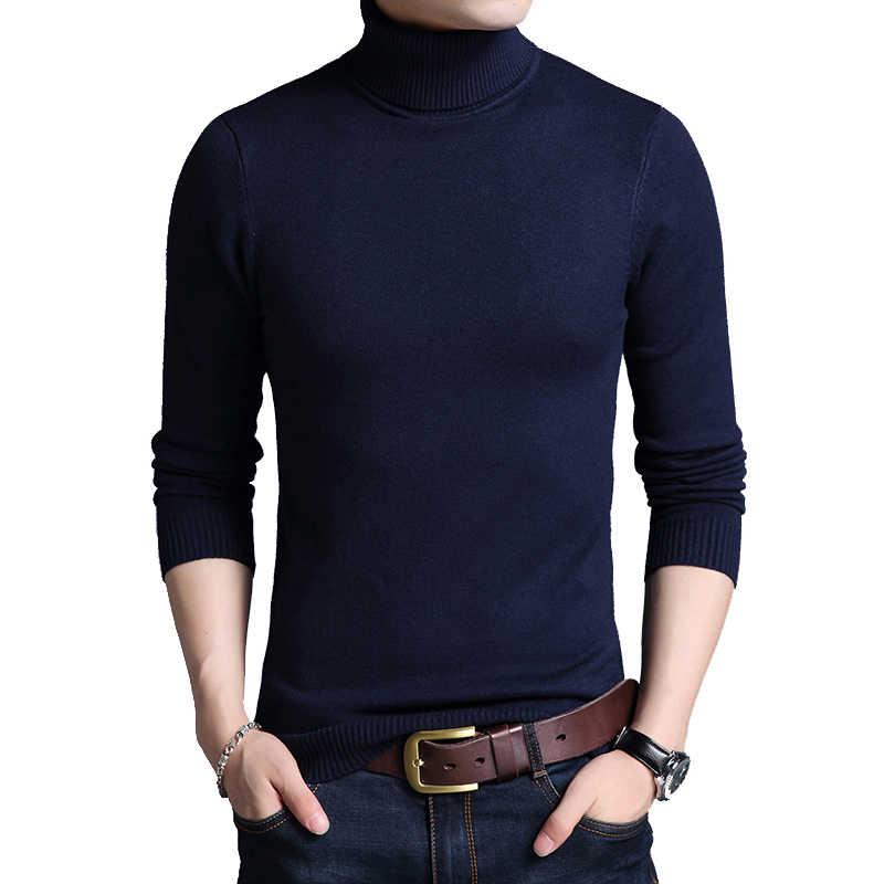 TFETTERS 2020 슬림 두꺼운 남성베이스 코트 터틀넥 스웨터 남성 스웨터 블랙 스웨터 니트 긴 소매 기본 스웨터