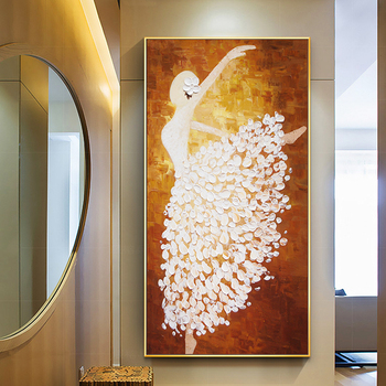 100% Hand Painted Abstract Dancing Oil Painting On Canvas Wall Art Frameless Picture Decoration For Living Room Home Decor Gift