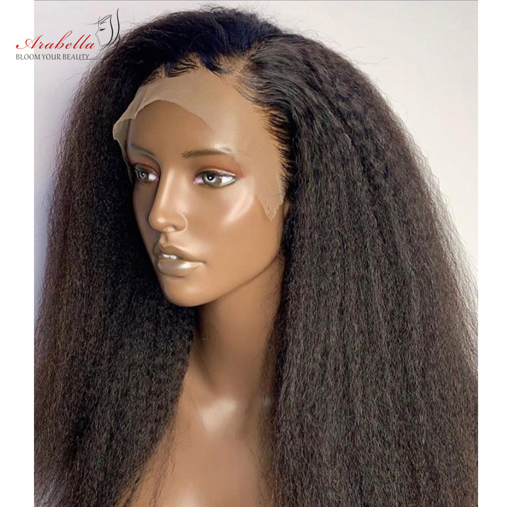 Kinky Straight Wig   13*4 Lace Front Wig With Baby Hair Pre Plucked Arabella  Yaki Closure Wig Glueless 2