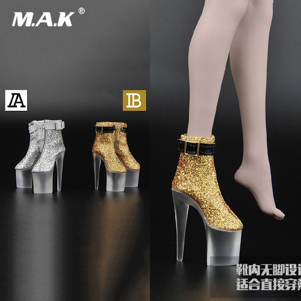 ZY1020A/B 1/6 Female Figure Accessory Women's High Heel Boots With Transparent Bottom Hollow Inside Without Feet For 12'' Body